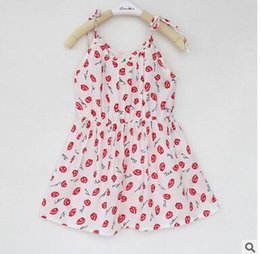 Wholesale 2016 New Fashion Summer Children s One piece Skirt Artificial Cotton Multiple Patterns Bourette Sling Tank Top Girl Dress Pic