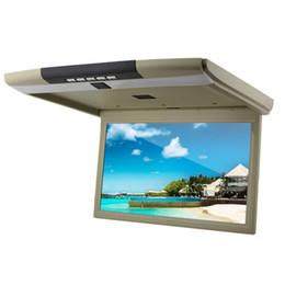 Lcd moniteur d'affichage vidéo en Ligne-Voiture VIdeo 15,6 pouces TFT LCD moniteur d'affichage 12-24v monté sur le toit moniteur de voiture rabat vers le bas bas HD 1080p HDMI USB SD auto-moniteur IR TV
