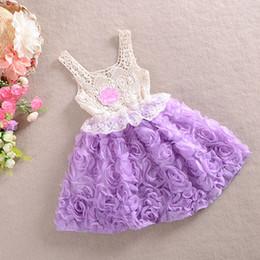 2016 Girls rose flower dresses Kids spring summer lace vest tutu dress princess girl party sundress purple pink blue choose