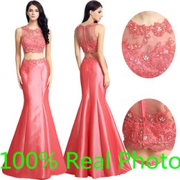 Wholesale Real Photo Coral Lace Taffeta Two Pieces Rachel Allen Prom Pageant Dresses Crew Full length Mermaid Cheap Evening Formal Gown