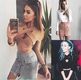 Wholesale 2016 New Summer Style Lace Up Women Cropped Tanks Tops Long Sleeve Sexy Bodycon Bandage Crop Tops Camisole S XL