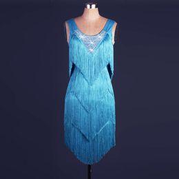 High Quality Latin Dance Dress Rhinestones Women Lady Clothing For Dance Stage Costumes Tassel Dancing Dress For Women Dancewear Dress