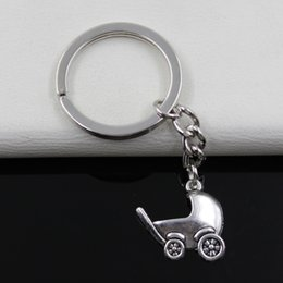 Wholesale Fashion diameter mm Key Ring Metal Key Chain Keychain Jewelry Antique Silver Plated baby carriage buggy pram mm Pendant