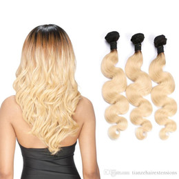 Ombre T1B 613 Color Human Hair Weaves Brazilian Virgin Hair Body Wave 3 Bundles 12-28inch Best Quality Human Hair Products Dyeable