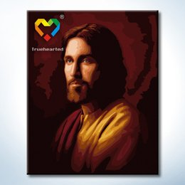Wholesale Jesus Wall Art DIY Painting Baby Toys x50cm Educational Canvas Oil Painting Drawing Wall Art for Family Gift with Green Acrylic