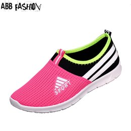 Wholesale ABB Fashion Unisex Women amp Men Air Mesh Casual Shoes Breathable Plus size Flat Shoes Outdoor Student Walking Flat with Loafers