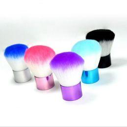 Wholesale 2016 Hot sale colorful foundation brush Kabuki brush fiber hair short metal handle OPP bulk packing