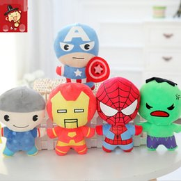 Wholesale 18cm Q versions The Avengers Heros mix Captain America Iron Man Spider Man Hulk Thor Plush Toys Children Baby Gifts
