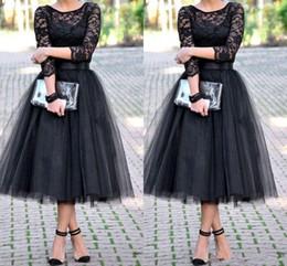 Wholesale Chiffon Lace Dress Tea Length - 2016 bridesmaid dresses 3 4 Long Sleeves Tulle Skirt Bridal Shower Tea Length cheap free shipping 2016