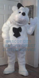 Wholesale Long Hair Plush Polite Polar Bear Mascot Costume Adult White Bear Theme Anime Cosply Mascotte Fancy Dress Suit Kits