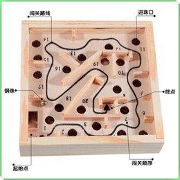 Wholesale Mini Wooden Maze task Toys cm Family Board Ball Balance Beam Games Wooden Maze Intellectual Children s Educational Toys