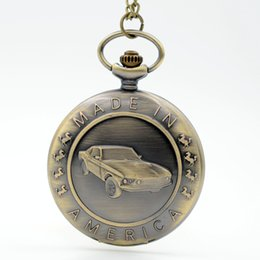Wholesale Retro Vine Bronze Fashion Cars D Made in America Quartz Pocket Watch Analog Pendant Necklace Men Women Watches Chain Gift