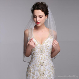 Cathedral Real Images One Layer Bridal Veils With2016b Velos De Novia Birdcage White Ivory Tulle Beaded Edge Pearl Short Wedding Veil