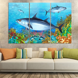 Wholesale 3panel set New ocean fish Paintings for children s bed room oil painting picture Home Decor undersea world no frame