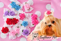 Pet Dog Grooming Accessories Bud silk flowers bow Dog dog hair clips pet hairpin Long-haired dog, the dog ornaments