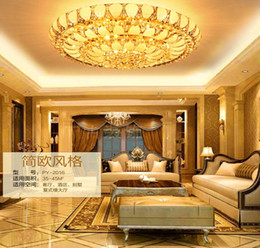 European retro traditional K9 crystal lamps. E14 Ceiling golden. Round LED Ceiling Light leaves the living room.