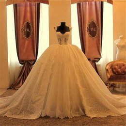 Luxury 2016 Real Image Arabic Lace Ball Gown Wedding Dresses Vintage Sweetheart Overskirt Tulle Applique Long Bridal Gown Custom EN60212
