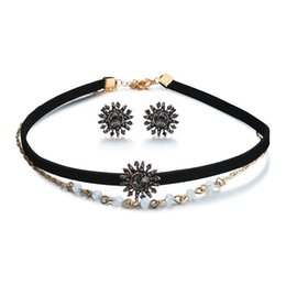 Fashion Jewelery Set New Alloy Necklace Earrings Two Piece Retro Fashion Necklace Set