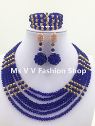 royal blue Wedding Necklace Earrings Bridal Jewelry Set Engagement african Crystal Necklace Jewelry Wedding Gift for Women lpsj1000