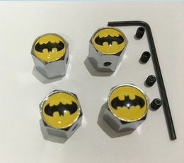 Wholesale 4pcs set batman pattern Metal Anti theft Tire Valve Style Car Wheel Tyre Dust Caps for all car