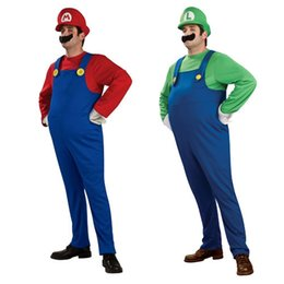 Wholesale Men Women Funy Cosplay Costume Super Mario Luigi Brothers Plumber Fancy Dress Up Party Costume Cute Kids Costume MO001