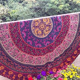 Wholesale Large Circle Scarves - Wholesale-59 Inch Polyester Round Scarf Boho Gypsy Round Beach Towel Summer Large Microfiber Printed Circle Beach Towels
