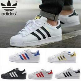 Wholesale adidas Originals Superstar S Man s Women s shoes sneakers man shoes women shoes Classic couples skate shoes white Black New