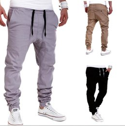 M-XXL Men's Black Casual Drawstring Sports Cross Pants For Men Fashion Loose Active Long Harem Collapse pants Gray khaki Trousers