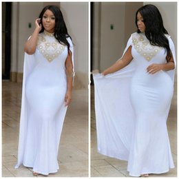 Wholesale Kaftan Turkey White Mermaid Evening Dresses Plus Size High Neck Gold Beads Crystal Cape Long Prom Gowns
