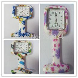 Wholesale-Wholesale 100pcs lot 7colors Square Colorful Prints Silicone Nurse watch Pocket Watches Doctor Fob Quartz Watch NW014