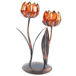 Livraison gratuite en forme de tulipe en verre de fer Bougeoirs Bougies Stands Bougies Bougies Parfumées Bougies Parures De Bain Décorations De Mariage à partir de supports métalliques pour le verre fabricateur