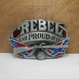 Wholesale BuckleHome fashion rebel belt buckle confederate belt buckle with pewter finish plating FP