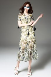 Wholesale 2016 New Women Animal Print Lace Temperament Long Section Of The Silk Dress Western Style With One Color To Choice And Superior Quality