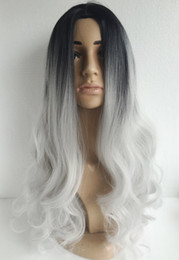 Long Curly hair ombre two tone natural black silver white Synthetic hair medium length long Bobo for women