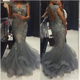 Gray Luxury Mermaid Prom Dresses 2016 Plus Size Lace Applique Beaded Open Backless Evening Gowns Tulle Sweep Train Formal Party Dresses