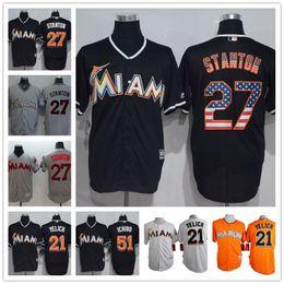 Wholesale Miami Marlins Giancarlo Stanton Martin Prado Suzuki Ichiro Christian Yelich Majestic MLB Baseball Jerseys Orange Black Gray