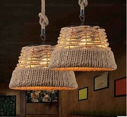 Wholesale Straw Lamp Led - Nordic Valley Pastoral rope pendant lamp research retro bar cafe creative straw hat lampshade living room pendant light