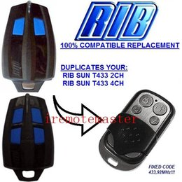 Wholesale Best price Compatible remote RIB SUN T433 CH CH remote control replacement transmitter Fixed code with MHZ