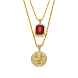 Micro Ruby Red Jesus Face Pendant 20 24inch Chain Necklace Set for Men High Quality Zinc Alloy Iced Out Hip Hop Jewelry