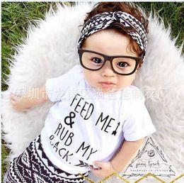 Wholesale NWT Cute Cartoon Baby Girls Boys cotton Outfits Summer Sets Boy Cotton Tops Shirts Vest Harem Pants Arrow Feed me rub my back