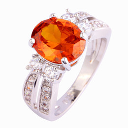 Red Garnet 18K White Gold Plated Silver Fashion Ring Size 6 7 8 9 10 11 Factory Direct-Selling Wholesale