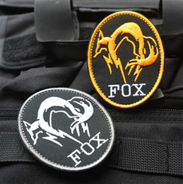 Wholesale High quality Black Metal Gear Solid MGS FOX HOUND Special Force Group Ghost D Embroidered patches military armband badge VP