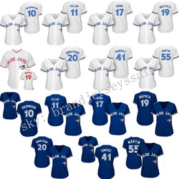 Wholesale Womens Toronto Blue Jays th Anniversary Patch Baseball Jerseys Edwin Encarnacion Kevin Pillar Alternate Throwback Stitched Logo