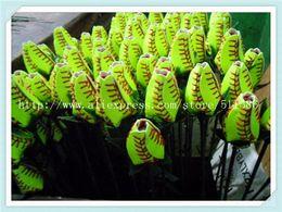 2018softballsunny American yellow leather red stitching seam softball graduation gift rose flower