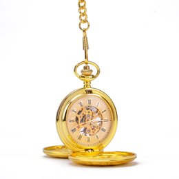 Wholesale Gold Vine Classical Patterns Border Sides Open Cases Roman Numbers Mechanical Pocket Watch