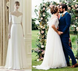 Wholesale English Country Garden Belle Wedding Dresses Jenny Packham Off Shoulder Short Sleeve V Neck Beaded A Line Chiffon Rustic Styling