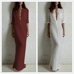 Wholesale Moda Vestidos mujeres de verano sexy vestido de manga larga profundo V cuello de lino Split sólido largo vestido maxi más tamaño