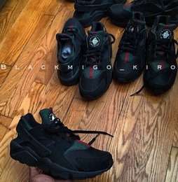 Wholesale 2016 new high quality air huarache shoes mens womens running gym trainers black green training Sneakers Chaussure Hurache Custom