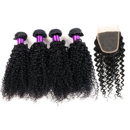 7A Malaysian HumanHair With Closure 4PCS Queen Hair Products with closure bundle Brazilian Kinky Curly Hair With Closure