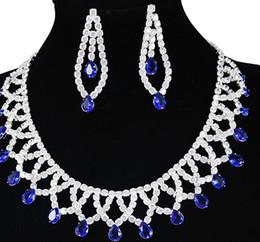 more color diamond bride wedding lady's set necklace earings yu